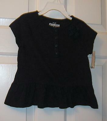 NWT TODDLER GIRLS NAVY BLUE OSHKOSH TOP / 3D FLORAL ROSE ACCENT     SIZE 4T