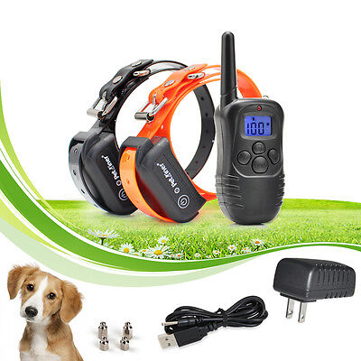 330 Yard Rechargeable Fully Waterproof Remote Shock 2 Dog Training Bark Collar