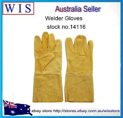 "14""/350mm Yellow Cow Split Leather Welding Gloves,Welding Gauntlets-14116"