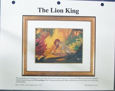 """Laminated promotional sheet of Disney's Lion King scene """"First Love"""""""