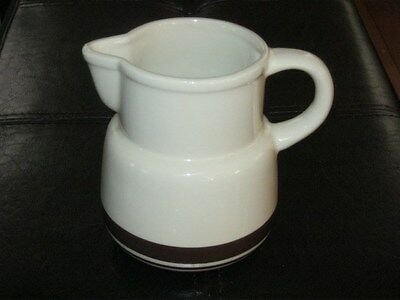MCCOY POTTERY PITCHER VINTAGE CREAM WHITE OFF WHITE WITH BROWN STRIPE EXCELLENT