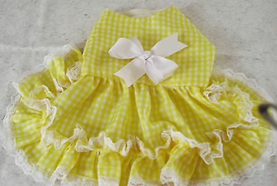 New COUNTRY YELLOW & WHITE   Dog Puppy Dress Clothes X Small FITS DOG 3-5 LBS