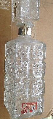 Vintage liqueur  Whiskey Cut  Glass Decanter  with Stopper