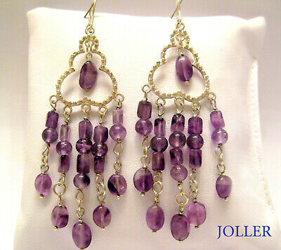CHANDELIER EARRINGS FILIGREE SILVER 90mm NATURAL AMETHYSTS BY JOLLER