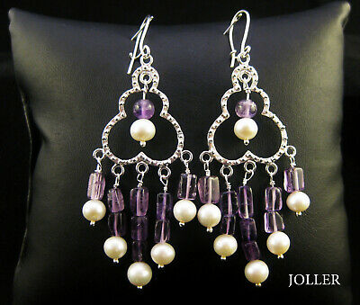 CHANDELIER EARRINGS FILIGREE SILVER 80mm NATURAL AMETHYSTS PEARLS BY JOLLER