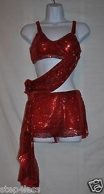 New Marcea Adult size XSmall Red sequin two piece dance outfit drapes-item#12707