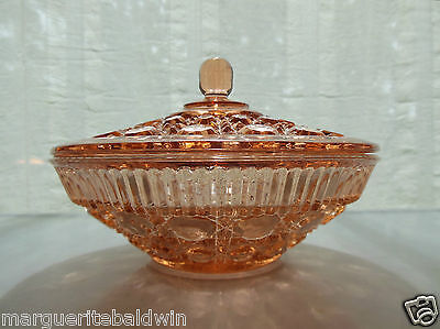 Federal Indiana Glass Coral Windsor Candy Dish & Cover