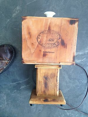 Hand Crafted Table Lamp Upcycled Cigar Box  Retro Design