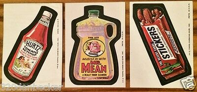 1974 Wacky Packages Topps Tan Backs 8th Series Snickers Hunts Mr. Clean Lot 3