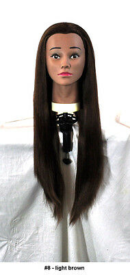 "28"" Recurlable Human Hair Mix Blend Cosmetology Mannequin Head & FREE CLAMP (C)"
