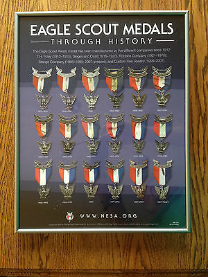"""""""EAGLE SCOUT MEDALS THROUGH HISTORY"""" in Pewter Metal Picture Frame, NESA, BSA"""