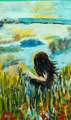 ACEO original acrylic painting: Girl in Reeds Facing the Sea