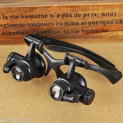 10x 20x Watch Repair Loupes Binocular Magnifying Glasses LED Eyewear Magnifier