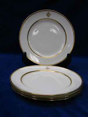 (4) ANTIQUE MINTON GOLD ENCRUSTED LUNCHEON PLATES, G7061, GILMAN COLLAMORE
