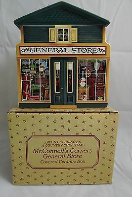 Avon Country Christmas McConnell's Corners General Store Covered Ceramic Box MIB