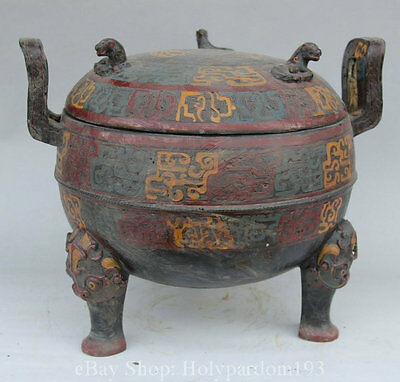 """13"""" Old Chinese Dynasty Palace Bronze 3 Foot Beast Water Wine Food Pot Jar Crock"""