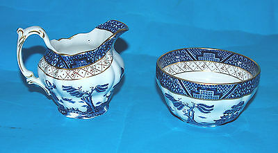 BOOTHS REAL OLD WILLOW SUGAR BOWL & A REAL OLD WILLOW CREAM MILK JUG (A8025).