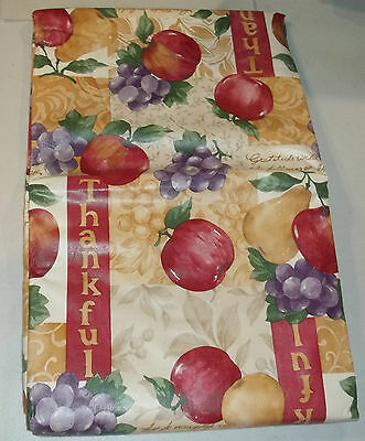"""True Living Flannel Back Tablecloth Cover Apples/Pears/Grapes/Thankful Round 60"""""""