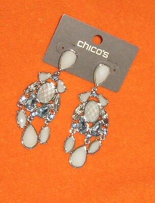 "Chicos Silvertone ""Laurie Chand"" Metallic Grayish Frosted & Blue Stone Earrings"