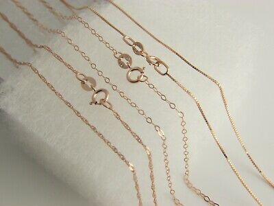 Solid 14k Pure Yellow Gold Figaro  Box Chain Necklace Curb with lobster clasp