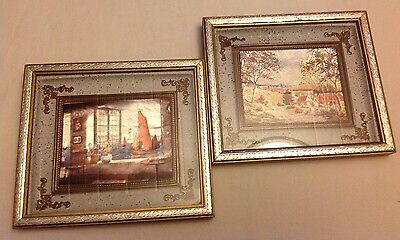 Lot of 2 Vintage Foil Art Pictures Prints Village Ocean View Gold Framed 6 x 7""