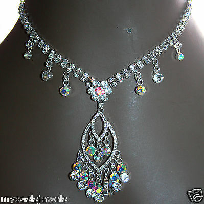 Rhinestone Choker Necklace Earring Prom Pageant Bridal Evening Austrian Crystal