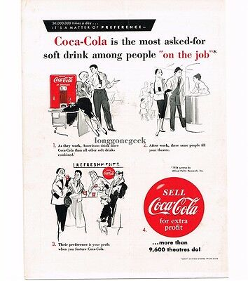 1955 Coca-Cola Movie Theater Concession promo Vtg Ad Most Asked For On The Job
