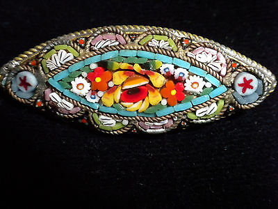 Vintage Italy Italian Micro Mosaic pointed oval Brooch Pin Millefiore Glass