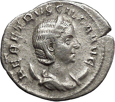 Herennia Etruscilla Hostilian mom Silver Ancient  Roman Coin Modesty Cult i48765
