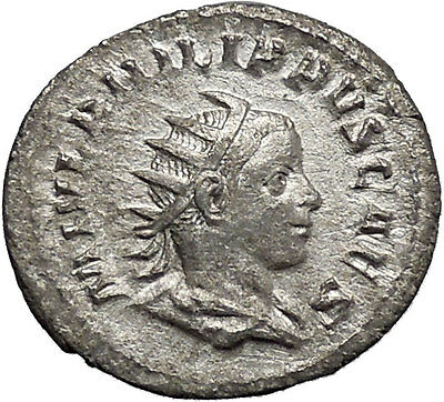 PHILIP II Roman Caesar with globe 245AD Silver Rare Ancient Roman Coin i48767