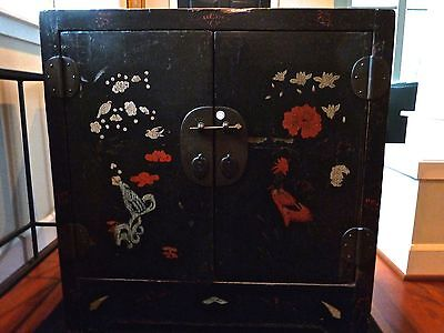 Chinese Black Lacquer Antique Cabinet