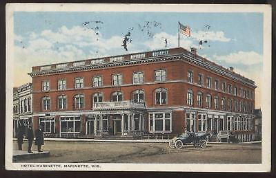 POSTCARD Marinette, WI Hotel View 1910's