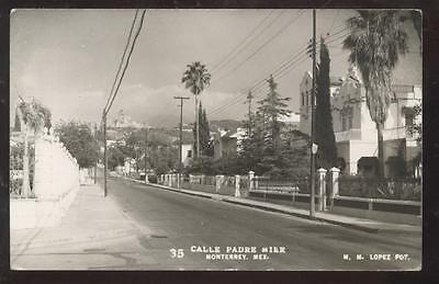 REAL PHOTO Postcard Monterey,MEXICO  CALLE PADRE MIER view 1940's?