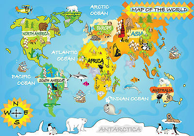 Giant Childs World Map Poster Animals Educational A0,a1,a2,a3 Laminated Gcw01