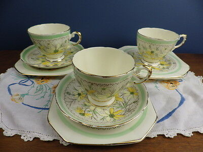 "Tuscan China ""plant"" 7382A 2 Trios + Cup + 2  Plates - 9 Pieces"