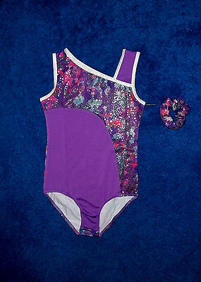 Girls Purple & Silver Dance Gymnastics Leotard Outfit Size 7 - 8 Medium Nwt