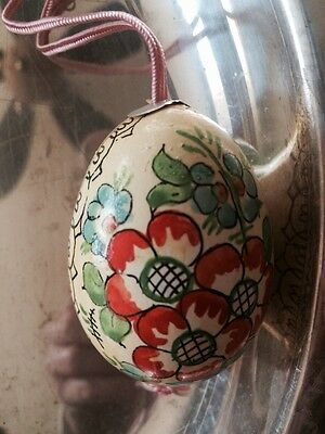 Russian Real Chicken Egg Hand Painted Vintage Pink Yellow Ornament Easter
