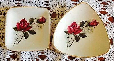 Two Sandland Ware Small Dishes 'Red Rose' Gvc