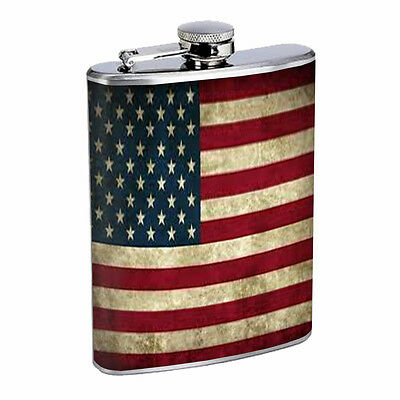 AMERICAN FLAG D1 Flask 8oz Stainless Steel Patriotic Stars and Stripes Honor