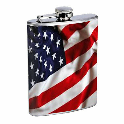 AMERICAN FLAG D4 Flask 8oz Stainless Steel Patriotic Stars and Stripes Honor