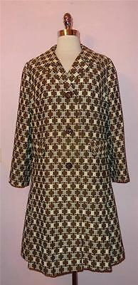 Stunning Vtg 60s MOD Op Art PRINCESS Trench Jacket Coat L XL MINT Condition