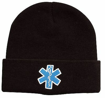 Star Of Life EMS EMT Black Watch Cap Ski Hat - White Blue Embroidered Winter Hat