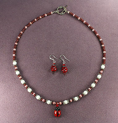 LADYBUG TOTEM NECKLACE EARRING  SET Insect Animal Magick Symbol Luck Love Silver