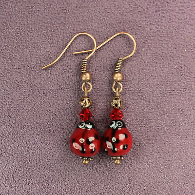 LADYBUG TOTEM EARRINGS Insect Animal Magick Crystal Luck Love Copper Red Black