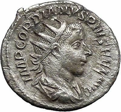 GORDIAN III 241AD Silver Ancient Roman Coin Happiness Cult Anchor Hope i48768