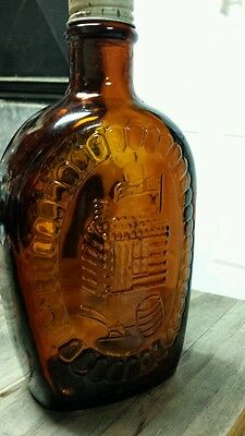Vintage Log Cabin Syrup bicentennial log cabin flask. Brown glass.