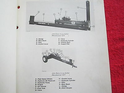 1978 Jd John Deere Model 3 And 5 Log Spliter Parts Catalog Manual