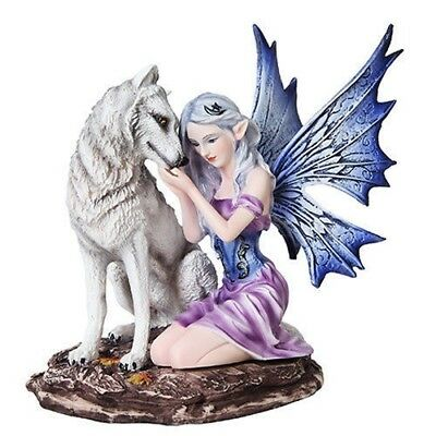 Large Beautiful Sitting Fairy and Alpha Wolf Figurine Fantasy Collectible Statue