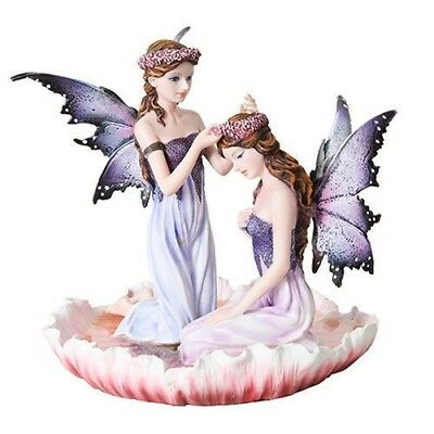 Beautiful Two Fairy Sisters on Flower Petal Figurine Fantasy Collectible Statue