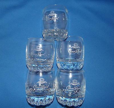 "Original Crown Royal Etched Glasses Tumblers Set of 5 Made In Turkey 3 1/2"" X 3"""